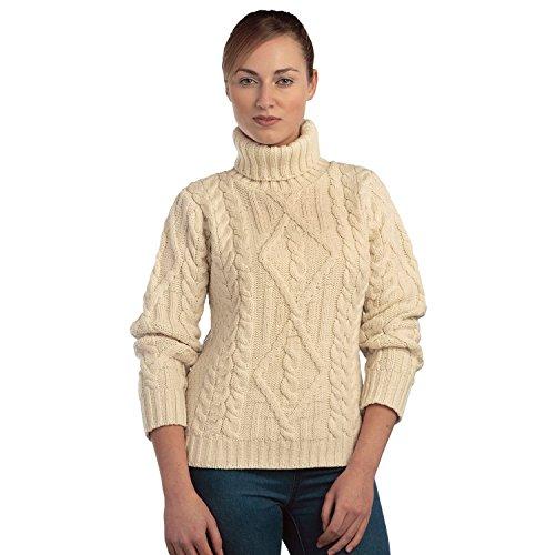 (100% Irish Merino Wool Polo Neck Aran Sweater, Ecru,)