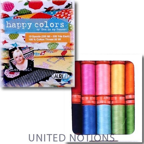 Aurifil Thread Set HAPPY COLORS By Lori Holt 50wt Cotton 10 Small (220 yard) ()