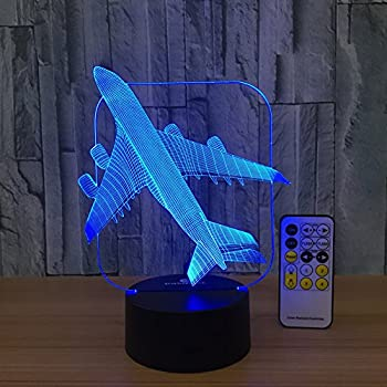 Baby Night Light Toy Plane 3d Night Light Beside Lamp Help Kids Fell Safe at Night Remote Contol Adjustable 7 Colors Great Gift Idea for Kids Special Toy for Kids by Csygood(Toy Plane)