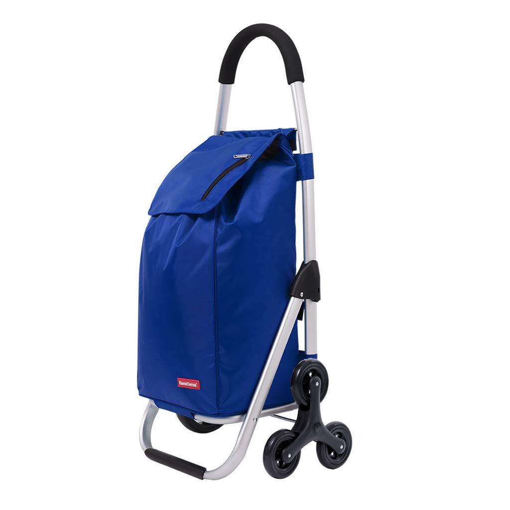 ショッピングカート 老人食料雑貨のショッピングカートまだ旅行荷物トロリー 折りたたみ式プッシュショッピングカートアルミショッピングカートポータブル大容量 (Color : Blue)  Blue B07H3WWVVQ