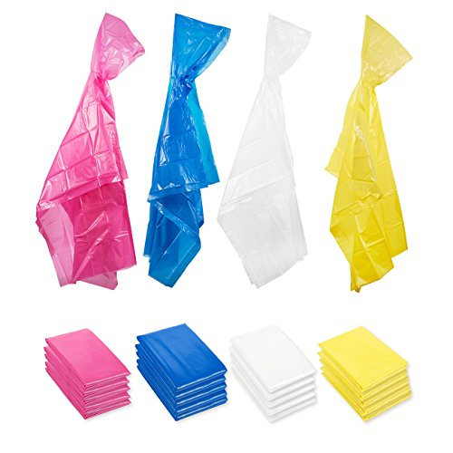 Adults Rain Ponchos with Hood - 20 Pack Durable Disposable Emergency Poncho, 4 Colors Pink, Blue, Yellow, Clear, 49.5 x 48.5 Inches ()