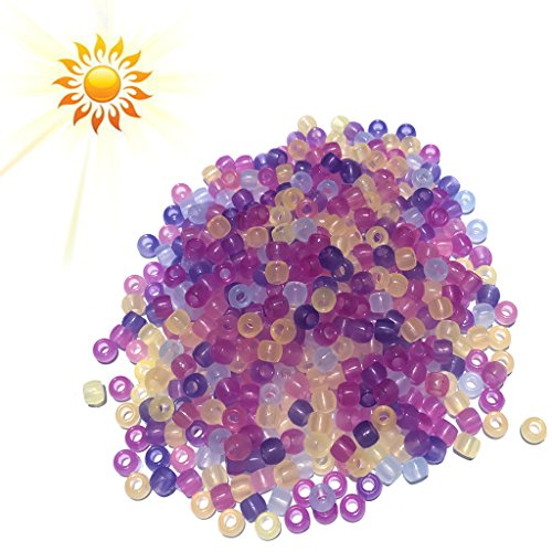 BYNNIX UV Beads 550 Pcs Color Changing UV Reactive Plastic Pony Beads for Jewelry Bracelets - Transparent Sunglasses Is Or Translucent