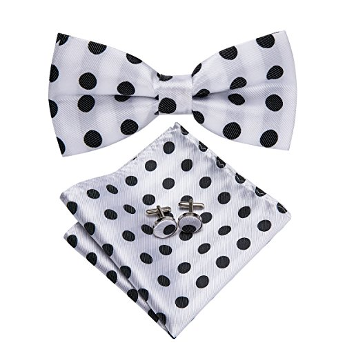 ck Polka Dots Bow Tie Necktie with Cufflinks and Pocket Square Bow Tie Set (LH-754) ()