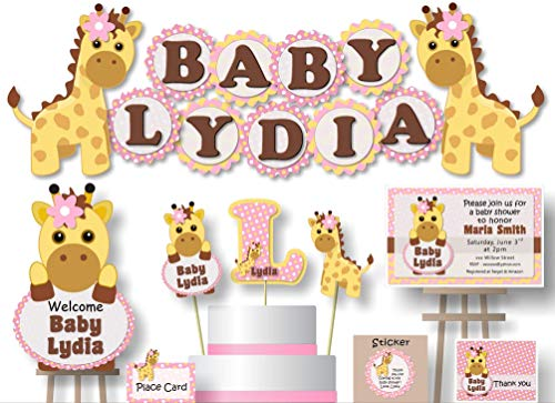 Personalized Pink Gold Giraffe Baby Shower or Birthday Party Decorations for Girl - Banner with Optional Cake Topper, Centerpiece, Sign, Favor Tags or Stickers, Thanks - Handmade in USA - BCPCustom ()