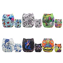 AlVABABY New Design Reuseable Washable Pocket Cloth 6 PCS Diaper Nappies + 12 Inserts