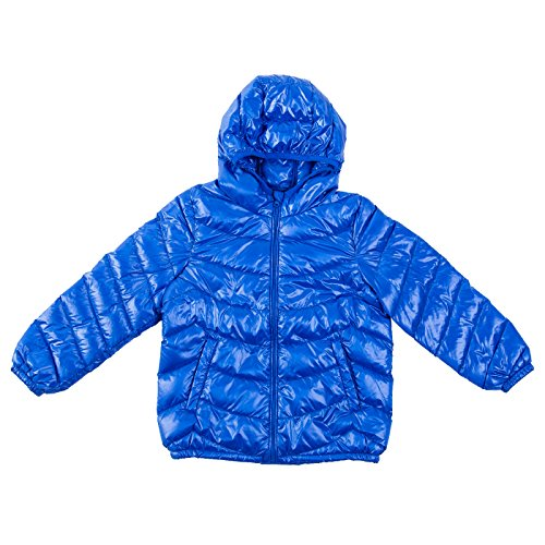A-lite Hood - IKALI Boys & Girls Ultra Light Down Packable Hooded Coat, Sleeved Outerwear Compact Windproof Puffer Jacket with Hood and Pockets (10-12Y, Royal-Blue)
