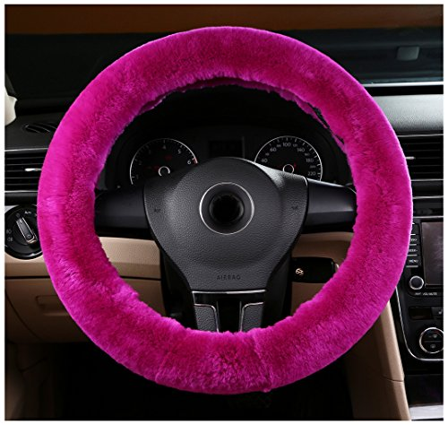 Bellesie Universal Warm Winter Genuine Wool Sheepskin Car Steering Wheel Cover Cushion Protector for 35cm-43cm Steering Wheel in Diameter (Cute Day Pl)