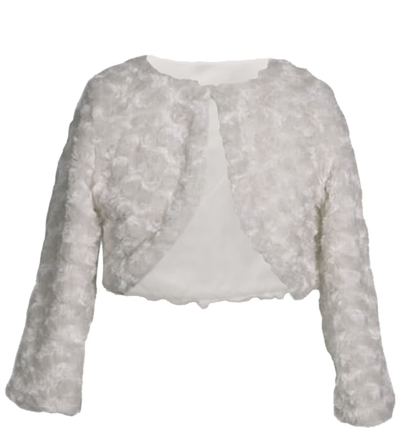 Amazon.com: Little Girls White Swirl Faux Fur Special Occasion ...