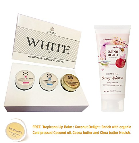 (WHITE ESSENCE CREAM SET + CHERRY BLOSSOM BODY CREAM WHITENING BRIGHTENING AURA SKIN DAY CREAM + NIGHT CREAM + UV SILICONE 3 IN 1 ANTI AGING FIRMING [GET FREE TOMATO FACIAL MASK])