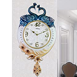 American Style,Living Room Wall Charts/ Peacock Art Wall Clock/Silent,Retro,Wall Decoration,Wall Charts-B 26inch