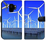Samsung Galaxy S9 Flip Fabric Wallet Case Image ID 19576484 Aircraft is Flying in eco Power of Wind turbines and Solar Panel at c
