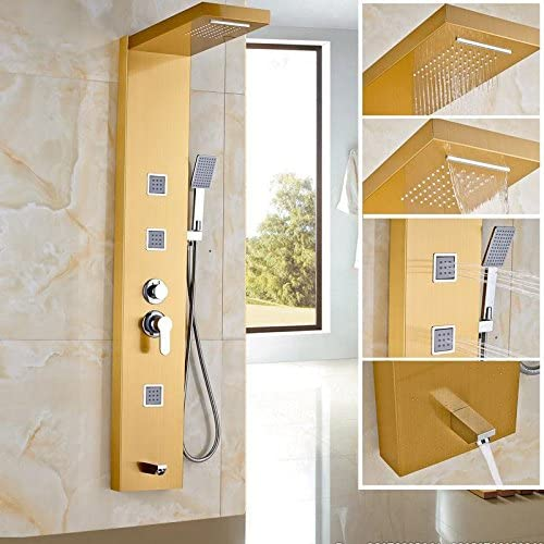 Fx@ Lluvia dorada Panel acero inoxidable lluvia cascada masaje Set ...