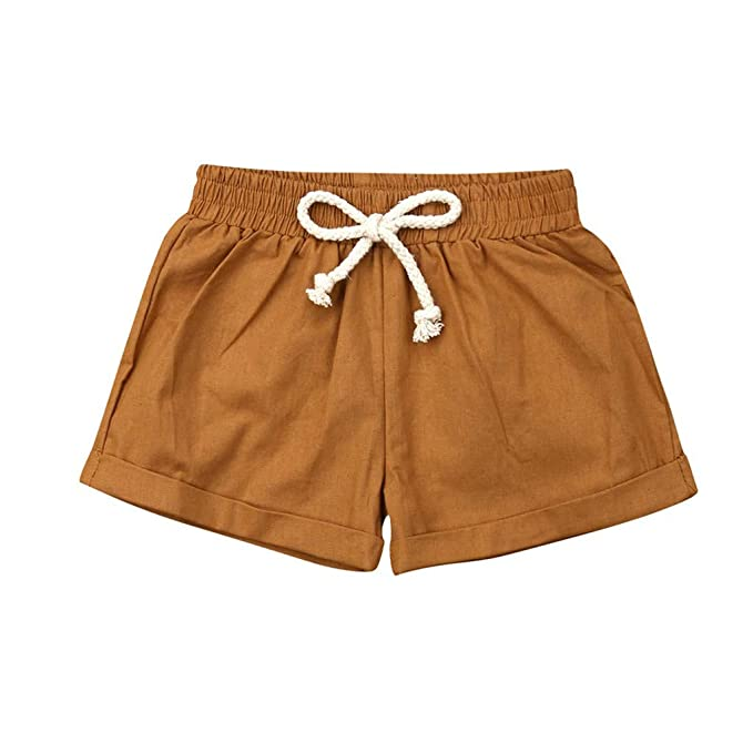 Amazon.com: Bebé Niños Niñas Sólido Pantalones Cortos De ...