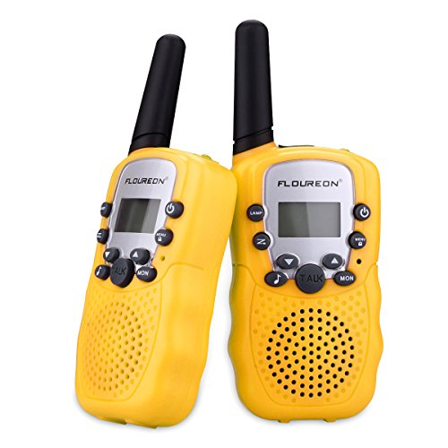 FLOUREON Two Pack 22 Channel Walkie Talkies for Kids Children Two Way Radio 3000M (MAX 5000M Open Field) UHF Long Range Handheld Yellow