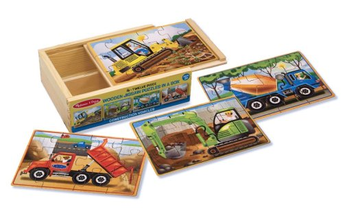 Melissa & Doug Construction Vehicles 4-in-1 Wooden Jigsaw Puzzles (48 (Melissa And Doug Sale)