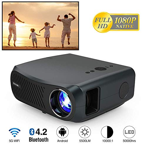 Portable Native 1080P Projector with 5500 Lux, 4K HD Supported 10000:1 Contrast Ratio 5G WiFi Wireless Bluetooth Projector with Smart Phone, Laptop, TV Stick, Zoom, HDMI, USB, VGA for Outdoor Movie