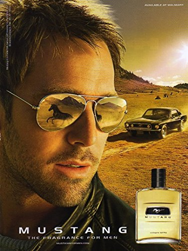 PRINT AD For Mustang Fragrance Man In Sunglasses With CarPRINT - Sunglass Ad