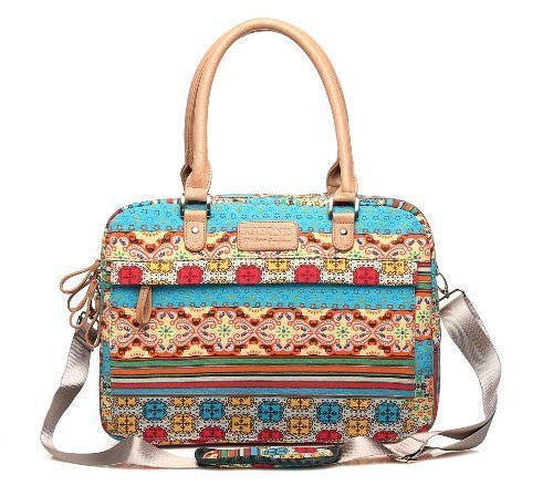 KAYOND 13-13.3 Inch Fashion Bohemian Style Canvas Fabric Laptop Notebook Tablet Messager Shoulder Bag For Macbook Pro/Ai Dell HP Lenovo ASUS Acer ThinkPad Samsung (13-13.3 Inches, Bohemian Style) (Attache Case For Women)