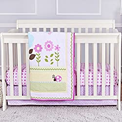 Dream On Me Baby Owl and Butterfly 3 Piece Reversible Full Size Crib Bedding Set