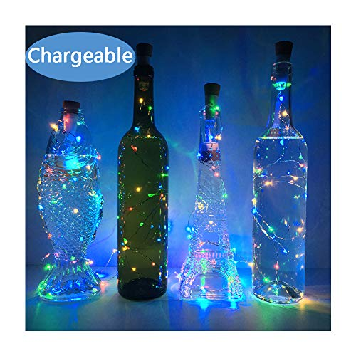 NeoJoy Wine Cork Lights, Rechargeable Bottle Fairy String Lights with 15 LED for DIY Artificial Parties Centerpiece Bedroom Decoration Gift (Colorful, 4PCS)