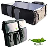 Baby Crib with Built in Changing Table Premium 3 in 1 Diaper Bag, Travel Bassinet and Portable Changing Station, Easily Convertible to Infant Travel Bed or Baby Napper- Grey