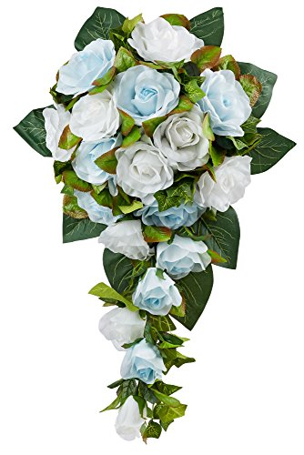 Light Blue and White Silk Rose Cascade - Bridal Wedding (Cascading Rose Bouquet)