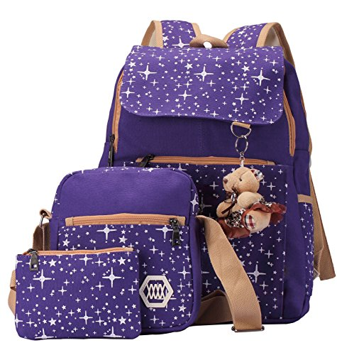 HONEYJOY Lightweigth Canvas Backpack Set Patterned Bookbag Shoulder Bag School Backpacks Girls Tee (One Size, Purple)