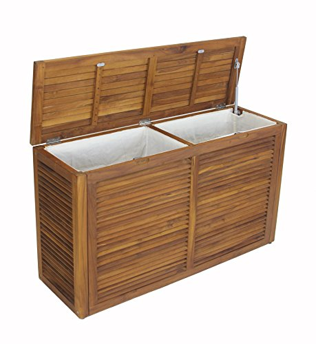 The Original Nila Teak Wall Hugging Louvered Double Hamper by AquaTeak