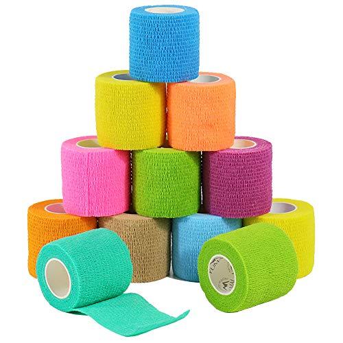 🥇 YUMAI vendaje cohesivo de primeros auxilios cinta autoadhesiva 5CM Paquete de 6