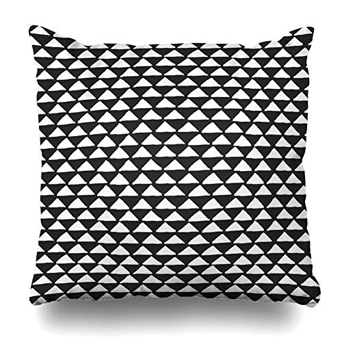 Ahawoso Throw Pillow Cover Square 24x24 Inches Mud African Black White Tribal Ethnic Pattern Geometric Dots Abstract Aztec B26w Bohemian Boho Border Zippered Cushion Pillow Case Home Decor Pillowcase
