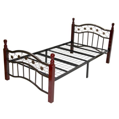 Cherry Headboard Size Twin (Home Source Industries 2737 Decorative Metal Bed with Sturdy Wooden Posts, Cherry)