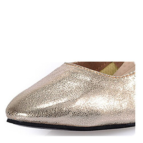 T Q Heels Shoes Gold Gold Leather T Cuban Heel Dance Women's HHqrZPwg