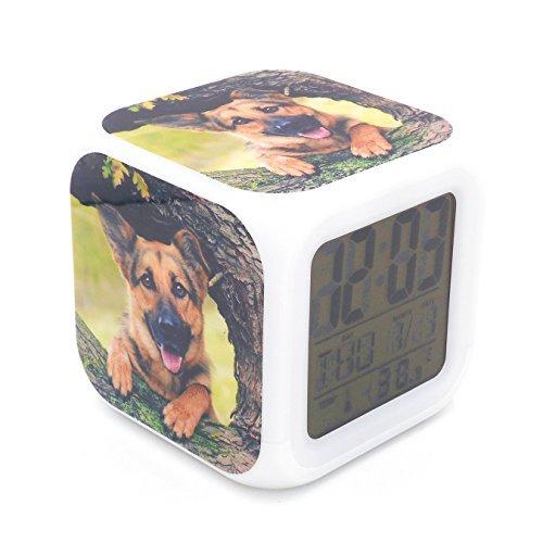 BoFy Led Alarm Clock German Shepherd Dog Puppy Animal Pattern Personality Creative Noiseless Multi-Functional Electronic Desk Table Digital Alarm Clock for Unisex Adults Kids Toy Gift