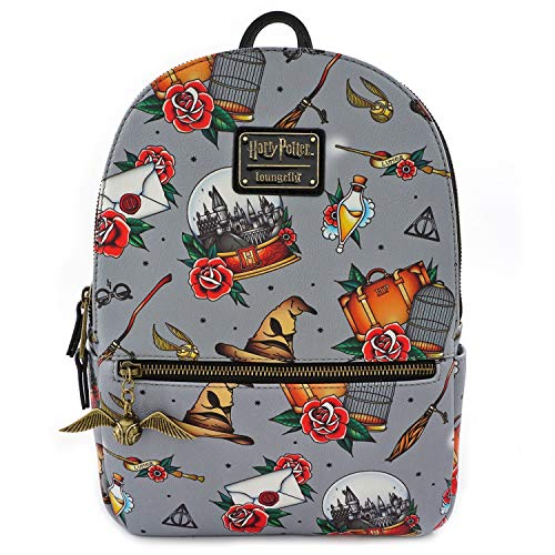 Loungefly x Harry Potter Tattoo All Over Print Mini Backpack (One Size, Multicolored) ()
