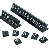 Price Display Stand Label Tag for Retail Shop, Adjustable, White Number n Black Base