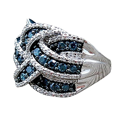 Hours Round Sapphire - Challyhope Rings, Eternity Weave Knot Ring Crisscross Crossover Round 925 Silver Plating Cut Created Blue Sapphire Women Engagement Ring (Blue, 9)