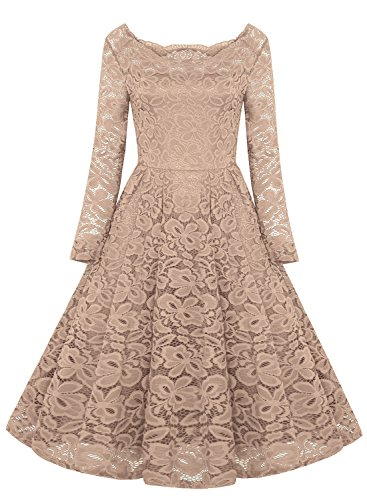 6a2404b08bb REMASIKO Womens Off Shoulder Lace Wedding Homecoming A-Line Cocktail ...