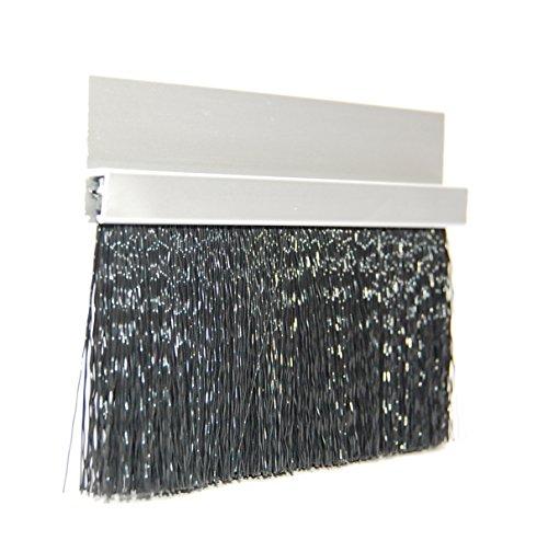 JaCor Medium Duty Brush Seal; Clear Aluminum Straight Holder, Black Polypropylene Brush; 1.5'' Brush x 1.0'' Holder (180deg) x 96'' Long by JaCor, Inc