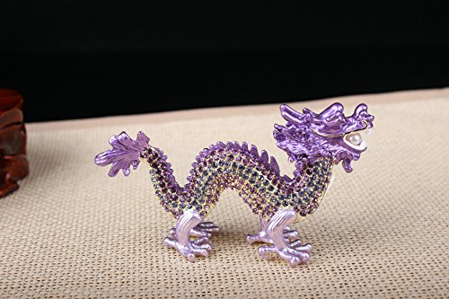 (Crystal Chinese Dragon Statue Dragon Feng Shui Items (Purple))