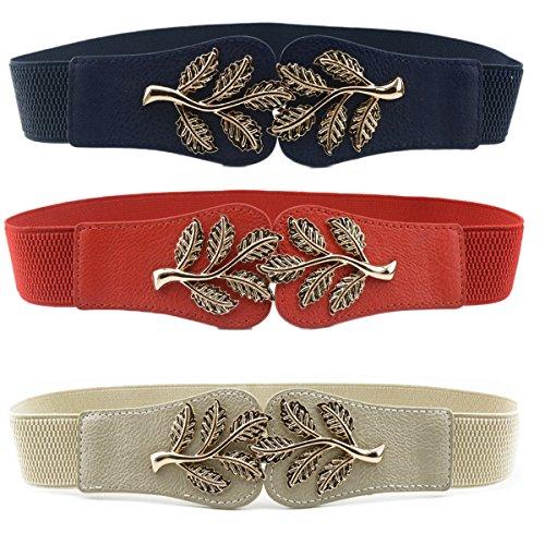 Womtop Woman Waist Belt Elastic Stretch Vintage Dress Belt 3 PCS Cinch Belt with Fashion Metal Interlock Buckle (Leaf (Navy+Red+Khaki), Free)