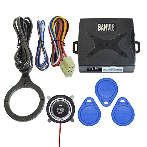 BANVIE Car Alarm RFID Immobilizer Hidden Lock System with Keyless Go Engine Start Stop Push Button for Vehicle Double Layer Start Protection (Immobilizer System Anti Theft)
