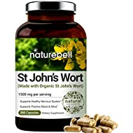 St John's Wort, Made with Organic St John's Wort, 1500 mg, 200 Capsules, Supports Positive Mood and Mind, Supports Nervous System, No GMOs, No Preservatives