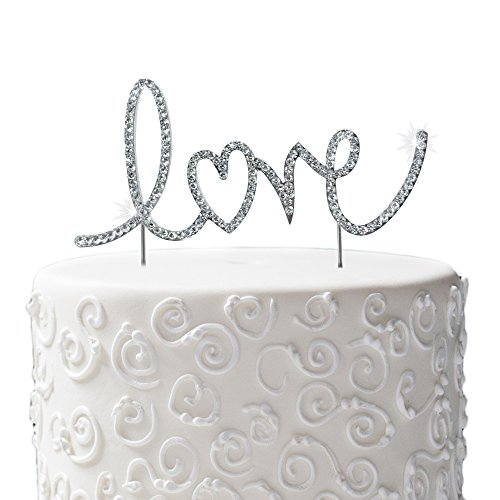 JennyGems Wedding & Anniversary Silhouette Rhinestone Letters Cake Topper - Love