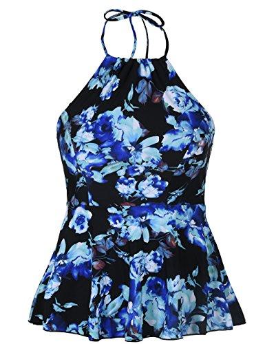 Hilor Women's High Neck Swimwear Halter Swimsuit Ruffle Hemline Tankinis Tops Blue Floral 10