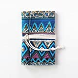Chris.W Refillable Canvas Bound Travel Journal Fabric 6-Ring Binder Notebook Writing Journal, with 90 Sheets Insert Refills as Diary, Sketchbook and Etc(Bohemian Blue, A6 Size)