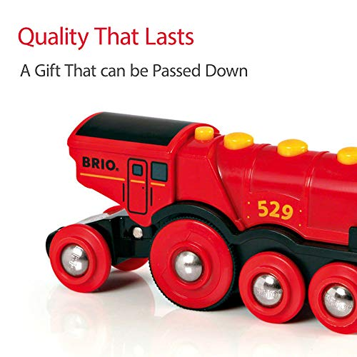 Brio 33772 Special Track Pack & 33592 Mighty Red Action Locomotive   Battery Operated Toy Train with Light and Sound Effects for Kids Age 3 and Up
