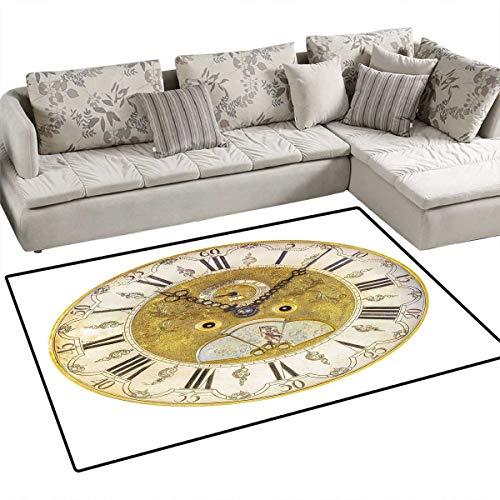 Alarm Century Single - Clock Anti-Skid Rugs Vintage Theme A Seventeenth Century Ornamental Clock Face with Roman Numbers Girls Rooms Kids Rooms Nursery Decor Mats 55