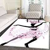Latin Area Rug Carpet Silhouette of a Woman Dancing Samba Salsa Latin Dances Spain and Mexico Culture Print Living Dining Room Bedroom Hallway Office Carpet 3'x5' Pink Black