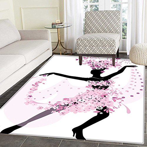 Latin Area Rug Carpet Silhouette of a Woman Dancing Samba Salsa Latin Dances Spain and Mexico Culture Print Living Dining Room Bedroom Hallway Office Carpet 3'x5' Pink Black by Carl Morris