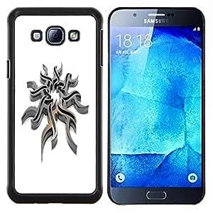 KLONGSHOP // Cubierta de piel con cierre a presión Shell trasero duro de goma Protección Caso - Acero tribal - Samsung Galaxy A8 A8000 //
